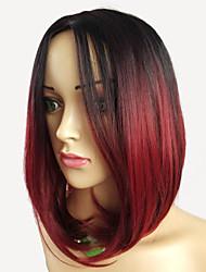 abordables -Pelucas sintéticas Ondulado Corte Bob / Corte Pixie Pelo sintético Gradiente de Color / Raya en medio / Raíces oscuras Rojo / Azul Peluca Mujer Corta Sin Tapa / Sí