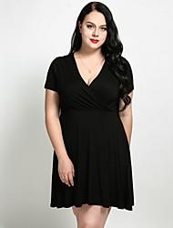 cheap -Cute Ann Women's Plus Size Basic Slim A Line Sheath Skater Dress - Solid Colored V Neck