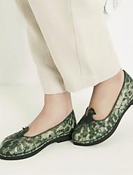 Недорогие -Жен. Обувь Кожа Весна лето Удобная обувь Кеды На низком каблуке для Зеленый