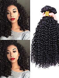 cheap -Indian Hair / Kinky Curly Curly Unprocessed Human Hair Human Hair Extensions 3 Bundles Human Hair Weaves Soft / Extention / Best Quality Natural Black Human Hair Extensions Women's