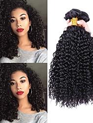Недорогие -3 Связки Индийские волосы Кудрявый 8A Натуральные волосы Необработанные натуральные волосы Накладки из натуральных волос Черный Естественный цвет Ткет человеческих волос