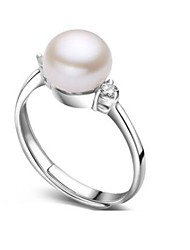 cheap -Women's Freshwater Pearl Band Ring - Pearl, S925 Sterling Silver, Freshwater Pearl Natural, Fashion Adjustable Silver For Birthday / Daily