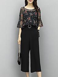 abordables -Mujer Sofisticado / Chic de Calle Manga de la llamarada Conjunto - A Cuadros, Borla Pantalón