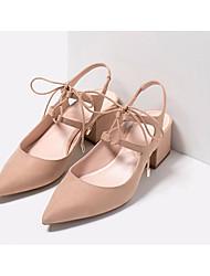 preiswerte -Damen Schuhe Nubukleder Frühling Sommer Pumps Komfort Sandalen Blockabsatz für Normal Schwarz Rot Mandelfarben