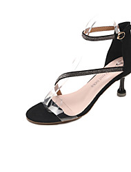 cheap -Women's Shoes Flocking / PU Summer Comfort Sandals Low Heel for Wedding / Outdoor / Party & Evening Black / Khaki