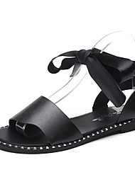 cheap -Women's Shoes PU(Polyurethane) Summer Comfort Sandals Flat Heel Round Toe Ribbon Tie White / Black / Lace up