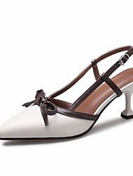 preiswerte -Damen Schuhe Leder Sommer Pumps Komfort Sandalen Kitten Heel-Absatz für Beige Braun
