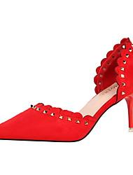 preiswerte -Damen Schuhe PU Samt Sommer Herbst Pumps D'Orsay und Zweiteiler High Heels Stöckelabsatz Geschlossene Spitze Spitze Zehe Niete für Büro &
