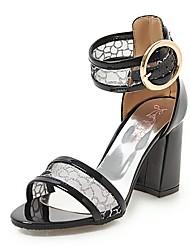 povoljno -Žene Cipele Umjetna koža Ljeto D'Orsay cipele Sandale Kockasta potpetica Otvoreno toe Kopča za Zabava i večer Obala / Crn / Plava