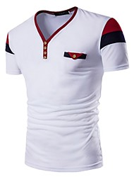 preiswerte -Herrn Einfarbig Sport Baumwolle T-shirt, V-Ausschnitt Schlank Blau & Weiß / Schwarz & Rot / Schwarz & Weiß / Kurzarm