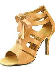 Недорогие -Жен. Танцевальная обувь Сатин Бальные танцы / Обувь для сальсы Пряжки Сандалии Персонализируемая Желтый / Фуксия / фиолетовый / EU42