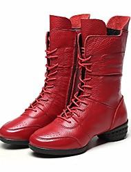 economico -Per donna Stivaletti da danza Pelle Tacchi Basso Scarpe da ballo Nero / Rosso / Prestazioni