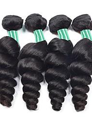 Недорогие -4 Связки Бразильские волосы Волнистый 8A Натуральные волосы Человека ткет Волосы Накладки из натуральных волос Естественный цвет Ткет человеческих волос