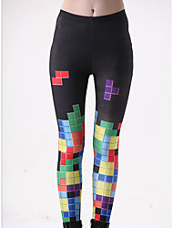 cheap -Women's Basic Legging - Color Block, Print Mid Waist