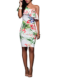 cheap -women's going out slim sheath dress - floral mini strapless