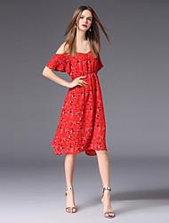 abordables -Mujer Bonito Boho Línea A Vestido - Estampado, Floral Hasta la Rodilla