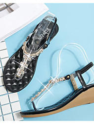 preiswerte -Damen Schuhe PU Sommer Komfort Sandalen Keilabsatz für Weiß Schwarz Mandelfarben
