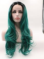abordables -Peluca Lace Front Sintéticas Ondulado Corte a capas Pelo sintético Rizador y enderezador Verde Peluca Mujer Longitud Media Encaje Frontal / Sí
