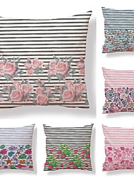 cheap -6 pcs Textile / Cotton / Linen Pillow case, Art Deco / Lines / Waves / Floral Print Simple / Square Shaped