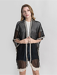 cheap -Women's Vintage / Party Rectangle - Solid Colored / Striped Black & Gray, Lace / Cut Out / Tassel