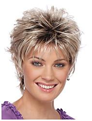 economico -Ambra Liscio Oro Taglio corto spettinato Capelli sintetici Attaccatura dei capelli naturale Oro / Borgogna Parrucca Per donna Corto Senza tappo / Sì