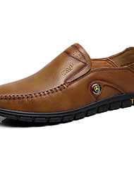 baratos -Homens sapatos Pele Napa / Pele Primavera Conforto Mocassins e Slip-Ons Preto / Khaki / Pele