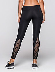 cheap -Women's Strappy Yoga Pants - Black Sports Hollow Spandex, Mesh Tights / Leggings Running, Fitness, Gym Activewear Quick Dry, Breathable Stretchy
