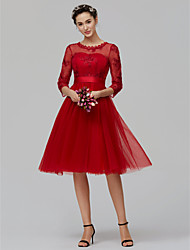 cheap -A-Line Jewel Neck Knee Length Tulle Bridesmaid Dress with Appliques / Bow(s) / Sash / Ribbon by LAN TING BRIDE® / Illusion Sleeve