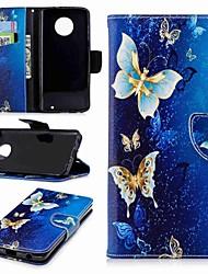 economico -Custodia Per Motorola Moto G6 Plus / G5 A portafoglio / Porta-carte di credito / Con supporto Integrale Farfalla Resistente pelle