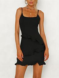 cheap -Women's Basic / Street chic Sheath Dress - Solid Colored Black & Red, Ruffle