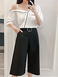 お買い得  -女性用 セット ソリッド パンツ