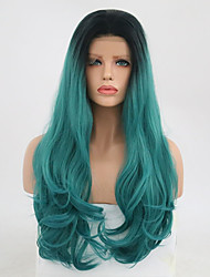 cheap -Synthetic Lace Front Wig Wavy Layered Haircut Synthetic Hair Natural Hairline Blue Wig Women's Long Lace Front / Yes