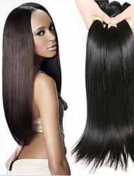 Недорогие -4 Связки Перуанские волосы Прямой 8A Натуральные волосы Необработанные натуральные волосы Человека ткет Волосы Пучок волос Накладки из натуральных волос 8-28 дюймовый Нейтральный Естественный цвет