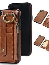 Недорогие -Кейс для Назначение Apple iPhone X / iPhone 8 Бумажник для карт / Кошелек / со стендом Чехол Однотонный Твердый Настоящая кожа для iPhone