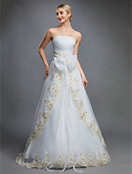 cheap -Ball Gown Strapless Floor Length Organza Made-To-Measure Wedding Dresses with Bowknot / Embroidery / Sash / Ribbon by LAN TING BRIDE® / Wedding Dress in Color