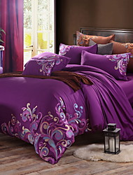 cheap -Duvet Cover Sets Floral Poly / Cotton Embroidery 4 Piece