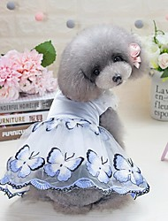 cheap -Dogs Cats Furry Small Pets Pets Dress Dog Clothes Flower Pearl Bowknot Blue Pink 100% Polyester Costume For Pets Female Japan and Korea