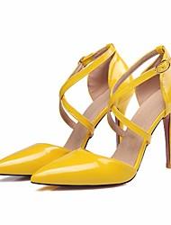 preiswerte -Damen Schuhe PU Herbst Pumps / Komfort High Heels Stöckelabsatz für Weiß / Schwarz / Gelb
