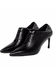 preiswerte -Damen Schuhe Leder Nappaleder Frühling Herbst Pumps Komfort High Heels Stöckelabsatz für Normal Schwarz Beige Grau