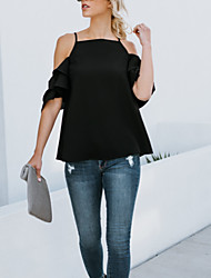 abordables -Tee-shirt Femme, Couleur Pleine Dos Nu / A Volants