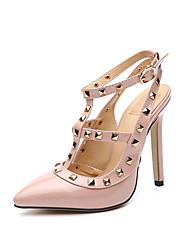 baratos -Mulheres Sapatos Couro Ecológico Primavera Verão Tira no Tornozelo / Plataforma Básica Sandálias Salto Agulha Dedo Apontado Miçangas /