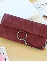 baratos -Mulheres Bolsas PU Leather Carteiras Botões Vermelho / Cinzento / Marron