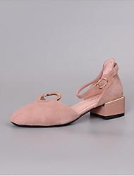 baratos -Mulheres Sapatos Pele Primavera Verão Conforto Saltos Salto Robusto para Ao ar livre Rosa claro