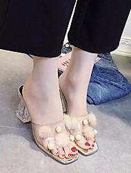 cheap -Women's PVC Leather Summer Basic Pump Sandals Chunky Heel Gold / Silver
