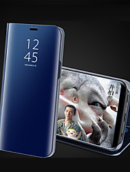 Недорогие -Кейс для Назначение Apple iPhone X / iPhone 8 Pluss / iPhone 8 со стендом / Покрытие / Зеркальная поверхность Чехол Однотонный Твердый Акрил