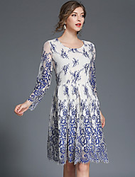 cheap -Women's Boho Slim A Line Dress - Floral / Geometric Blue & White, Lace / Mesh / Tassel High Waist