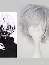 abordables -Perruques de Cosplay Tokyo Ghoul Ken Kaneki Argent Manga Perruques de Cosplay 12 pouce Fibre résistante à la chaleur Homme Perruques d'Halloween