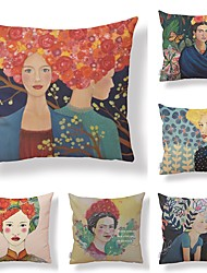 cheap -6 pcs Textile / Cotton / Linen Pillow case, Art Deco / Retro / Printing Square Shaped / Accent / Decorative