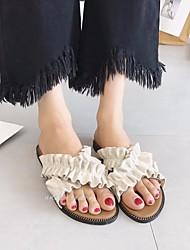 cheap -Women's Shoes Nubuck leather Summer Comfort Slippers & Flip-Flops Flat Heel for Black Yellow Almond