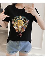 baratos -Mulheres Camiseta Animal / Retrato Algodão / Poliéster / Algodão / Animal